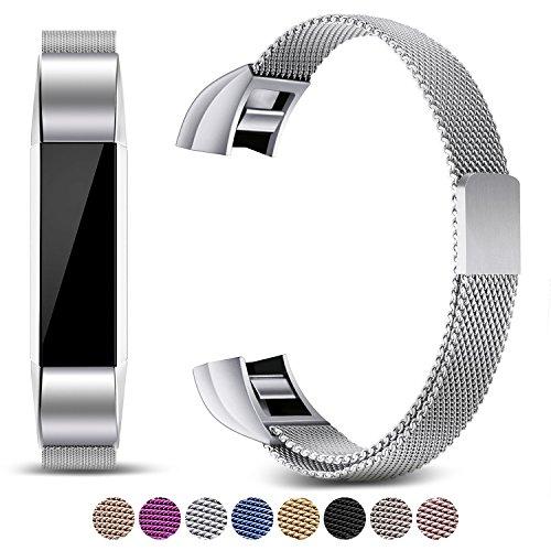 Mornex Kompatibel Fitbit Alta HR und Alta Armband, Milanese Edelstahlband Sport Uhrenarmband Ersatzarmband für Fitbit Alta HR Band mit Magnetverriegelung,Silber …