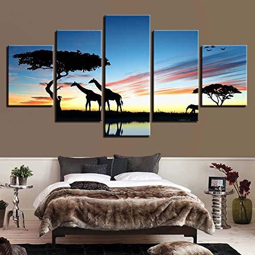 mmwin Leinwand HD Drucke Wohnkultur 5 Stücke Giraffe Wandkunst Baum Modulare Sonnenaufgang Landschaft Bilder Kunstwerk Landschaft Poster