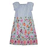 BONDI Webkleid mit Blumenstickerei, Stripe Blue/Weiss 128 Strawberry Cake Artikel-Nr.36071