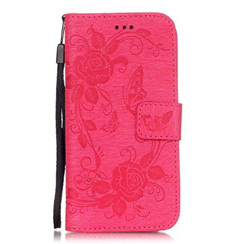 SZHTSWU Hülle für iPhone 6 6s, Magnetverschluss Schmetterling Blumen Series mit Lanyard Strap Design PU Leder Tasche Weiche Silikon Schutzhülle Hülle Flip Wallet Case Handyhülle im Bookstyle Design mi Rose