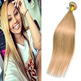Bundle Weave Hair Locken Blond Honey # 27 Straight Ssingle Bundles Echthaar Tressen Brasilianische Human Hair 16 Inch