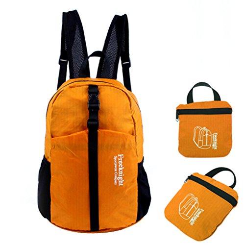 MEIZU88Outdoor grande impermeabile pieghevole in nylon sport escursionismo zaino spalle borsa, Black Orange