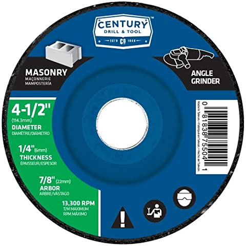 Century Drill and Tool 75504 Masonry Wheel, 4-1/2-inch X 1/4-inch by Century Drill & Tool