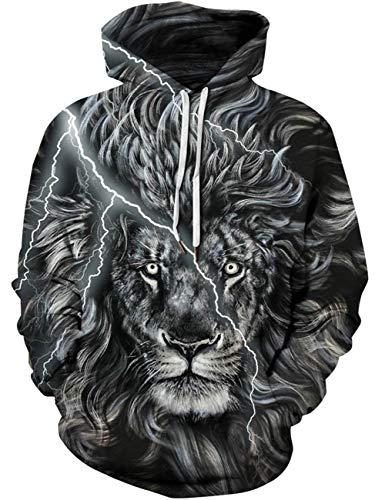 Goodstoworld Low Pullover 3D Lion Print Hoodie Kapuzenpullover Sport Langarm Sweatshirt Kapuze Gedruckte Jersey mit Tasche