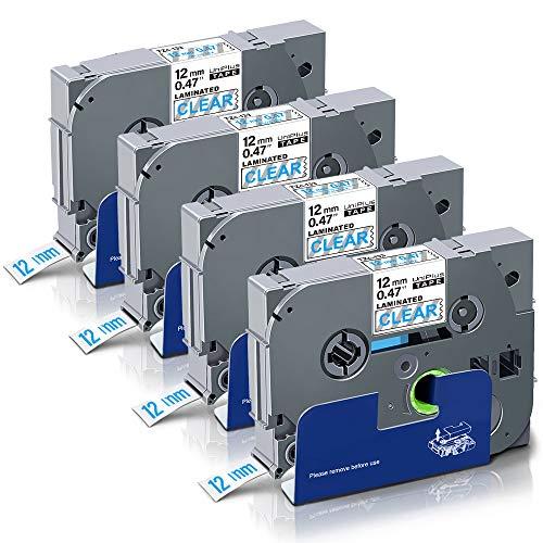 UniPlus 4x P-Touch 1000 Nastro,Tze-133 Tze133 Tze Tape Laminato Nastri per Etichettatura Compatibile per Brother PTouch Cube PT H107 H100LB H101C P700 E100 D600VP D400, 12mm x 8m, Blu su Trasparente
