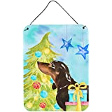 "Caroline's Treasures Black And Tan Dachshund Christmas Metal Print, 16"" X 12"", Multicolor"