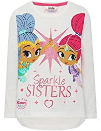M&Co Shimmer and Shine Girls 100% Cotton White Long Sleeve Character Slogan Glitter Print T-Shirt