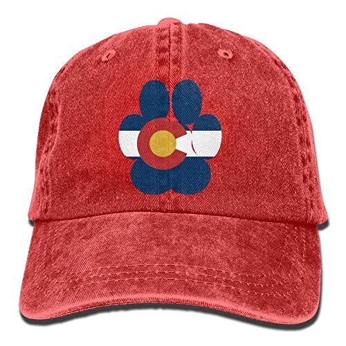 EUEI DAVIDSON Colorado State Flag Bear Paw Unisex Baseball Cap Cowboy Hat Bill Snapback Hats