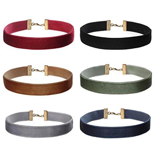Skitic Gothic Girocollo Collana di Velluto in Pelle Choker Collari Necklace Gioielli Set per Ragazze Donne (6 Pezzi - Profondo Colore)