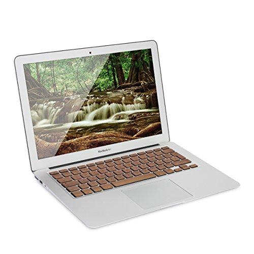 kwmobile Tastatur Aufkleber für Apple MacBook Air 13''/Pro Retina 13''/15'' (bis Mitte 2016) QWERTZ in Walnussholz Tastaturschutz Folie Sticker Skin (Tastatur Skins Für Macbook Air)