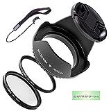 LUMOS 5er Zubehör Set mit 62mm Gegenlichtblende UV Schutz Filter CPL Polfilter Objektivdeckel für jedes Kamera Objektiv mit 62 mm Filtergewinde wie z.B. Tamron AF 70-300mm 4-5,6 Di LD Macro 1:2 für Canon Nikon Sony