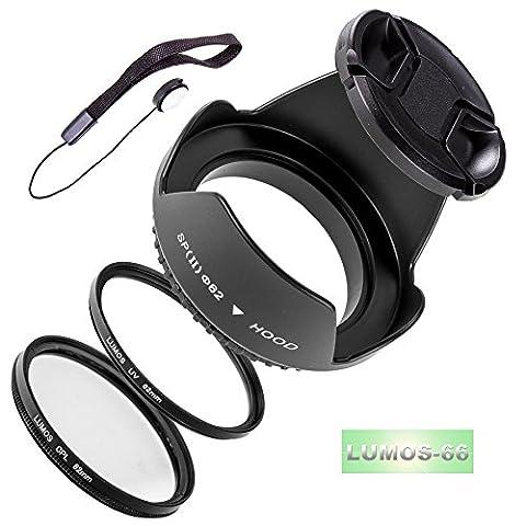 LUMOS 5er Zubehör Set mit 62mm Gegenlichtblende UV Schutz Filter CPL Polfilter Objektivdeckel für jedes Kamera Objektiv mit 62mm Filtergewinde Sigma 18-250mm f/3,5-6,3 DC Macro OS HSM Tamron AF 70-300mm 4-5,6 Di LD Macro 1:2 für Canon Nikon
