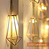 Lichterkette rosegold geometrisch Laterne LED Lampe Vintage-Look Weihnachts-Beleuchtung Retro-Design kupfer Dekoleuchte batteriebetrieben warmweiß