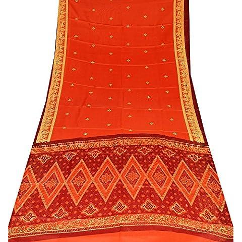 annata indiano rosso saree tessuto fai da te cotone vestito