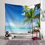Nordic Camera da Letto Decorazione Panno arazzo Muro Coperta telone Sfondo Cocco Albero Spiaggia Vista Mare 2 150x130