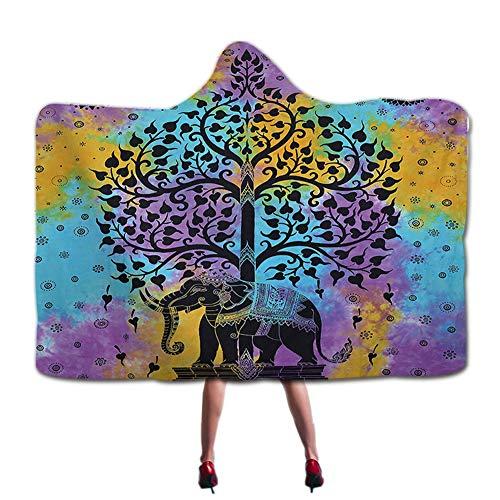 Mandala Elefant Baum des Leben Totem Druck Mit Kapuze Decke Ombre Mit Kapuze Wurf Kuscheldecke Indisch Ethnisch Elefant Sherpa Fleece Decke Böho Hippie Kap Wickeln Tragbare Mantel 59 * ()