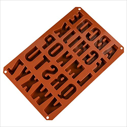 Silikon Backform Schokoladenform Backen Eiswürfel Gelees Schimmel Plätzchen-Form 26 Löcher Englisch Buchstaben Schimmel Utensilien (Spielzeug Backofen Backen Einfach)