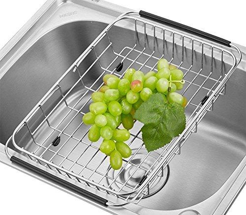 Sostenedor ajustable del estante del dren del plato sobre el fregadero, Escurreplatos para colocar sobre el fregadero; para escurrir/secar vasos, boles, cubiertos, platos, Fruta vegetal