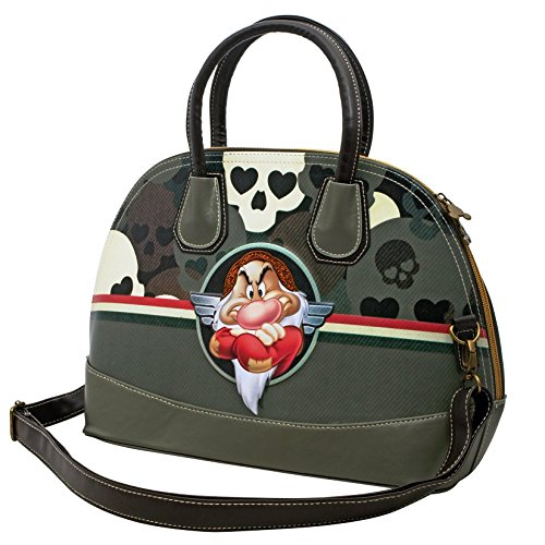 Disney Grumpy Skull Love Woman Kid Girl Bowling Bag Mini Bugatti Barrel Handbag Shoulderbag Crossover Cross body Shoulder Travel Gift Idea Brown