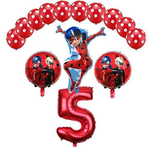 Tyro Luftballons Miraculous Marienkäfer 14 Stück/Set Gril's Geburtstag Party Ballon Dekoration Marienkäfer Helium Folie Luftballon Spielzeug Großhandel