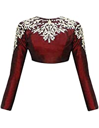 MEGHALYA Maroon Embroidered Raw Silk Long Sleeves Blouse For Women(Un_Stitched)