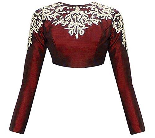 MEGHALYA Maroon Embroidered Raw Silk Long Sleeves Blouse For Women(Semi_Stitched)