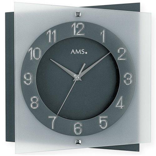 AMS Wanduhr 9323 Quarz Mineralglas auf anthrazitlackierter Rückwand