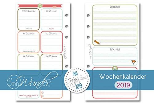 SinnWunder 2019 Premium-Kalendereinlage 1 Woche / 2 Seiten Personal DIN A6 HappySinn