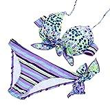 Honestyi Sexy Bikini Strips Bandage Swim Swimwear Beachwear Damen Bikini DK002 verdickte Stahlplatte Super versammelten Sich aufgeteilte Schwimmen/Badebekleidung(Violett,M)