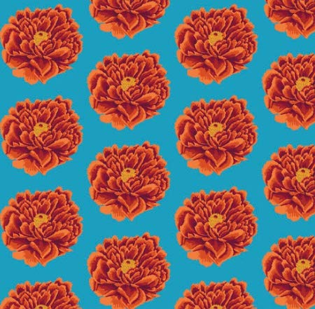 KAFFE FASSETT Quilt-Stoff - Kaffe Fassett - extra breiter Stoff - 50 cm x 274 cm - von Kaffe Fassett - 100% Baumwolle FS37 Giant Red Floral Quilt Backing - Floral Quilt Backing