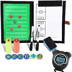 BizoeRade Carpeta Táctica con Deportes Cronómetro,Professional Fútbol Coach Board – Cronómetro digital, Carpeta con lápices, goma de borrar, imanes