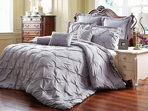 Unique Home 8-teilig Wende Pinch Falte Tröster Set–Farbbeständig, knitterfreies, kein Bügeln notwendig, Super Weich–mater-grey, Polyester-Mischgewebe, grau, Queen