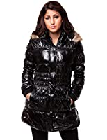 24brands - Damen Frauen Winter Jacke lang mit Kapuze & Fell Glanzjacke Mantel - 2335
