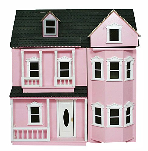 new-in-box-pink-wooden-3-storey-veranda-fronted-collectors-dolls-house-kit