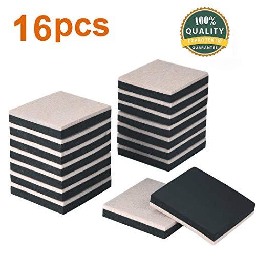 Ezprotekt Möbelgleiter aus Filz, 8,9 mm, quadratisch, 89 mm, Möbelgleiter zum Bewegen schwerer Möbel auf Hartholzböden und allen harten Oberflächen, 16 Stück (Ein Stück Bewegen)