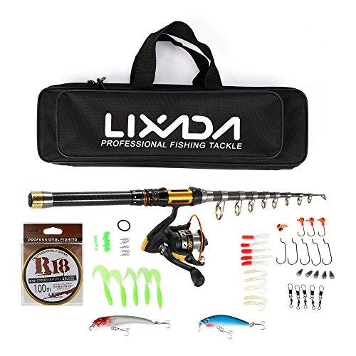 Lixada Combo de Pesca Caña de Pesca Telescópica + Carrete Spinning Kit Completo con Bolsa para Aparejos Línea Cebos Ganchos
