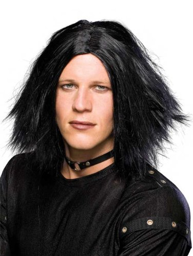 Rubies costumi comuni parrucca uomo nera lunga liscia senza frangia emo o il corvo