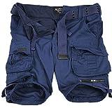 A. Salvarini Herren Designer Cargo Shorts Cargoshorts Kurze Hose Gürtel AS079 [AS-079-Navy-W42]