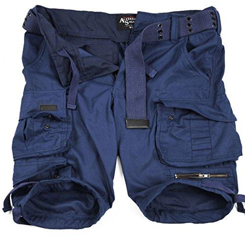 A. Salvarini Herren Designer Cargo Shorts Cargoshorts Kurze Hose Gürtel AS079 [AS-079-Navy-W33]