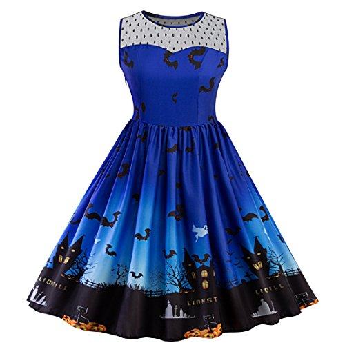 SIMYJOY Damen Retro A-Linie Ohne Arm Halloween Kürbis Swing Kleider Skater Kleider für Party Cocktail Kostüm und Parade Königsblau XL