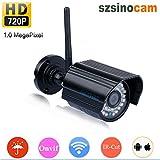 Szsinocam Caméra IP sans Fil Étanche ONVIF 720P Capteur 1.0MP WLAN Caméra de Surveillance H264 WIFI P2P Détection de Mouvement Vision Nocturne Alerte Par Mail Accès par PC Smartphone iOS Android
