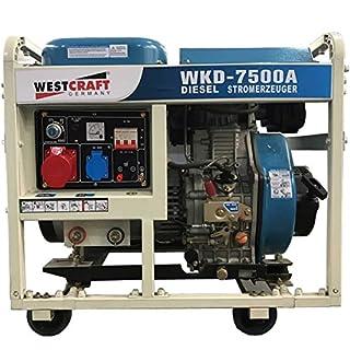 WESTCRAFT Groupe électrogène Diesel 7,35kW 2x 230Générateur de courant de secours 406cm³ Moteur 50PS, Générateur notstromer, bleu