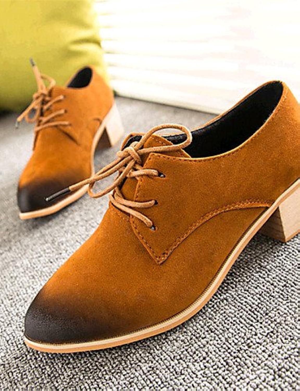NJX/ hug Zapatos de mujer-Tacón Robusto-Comfort-Sneakers a la Moda-Exterior / Casual-Vellón-Negro / Amarillo /...