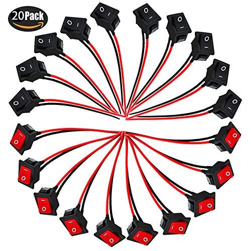 RUNCCI 20Pcs Mini Interrupteur à bascule, Mini Bateau commutateur, interrupteur à bascule filaire à démarrage/démarrage 6A / 250V 10A / 125V pour voiture, bateau, appareils ménagers
