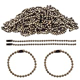 BronaGrand - 100 llaveros de cadena de bolas de 100 mm de largo, cierre de conector de 2,4 mm de diámetro
