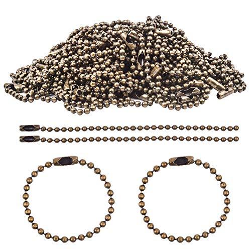 k Etikett Kette Kugelkette Perlen Rollenkette DIY Link Kette 2,4 mm Durchmesser mit passenden Anschlüssen für Basteln Dog Tag (10cm) ()