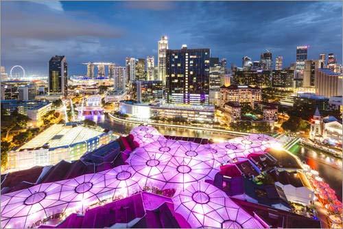 Poster 91 x 61 cm: Singapur Stadt in der Nacht beleuchtet von Matteo Colombo - hochwertiger Kunstdruck, neues Kunstposter