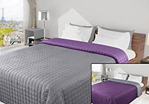 170x210 silber grau anthrazit violett lila tagesdecke bett berwurf steppbett berwurf steppung. Black Bedroom Furniture Sets. Home Design Ideas