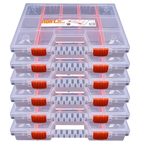 6x Sortimentskasten Kunststoff Aufbewahrungsbox NORT16 transparant & stapelbar