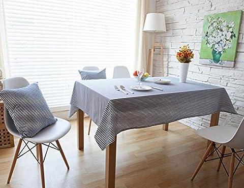 memorecool Bleu un simple table rectangulaire rayé Chiffon anti-poussière multifonction dining-table Housse en tissu en lin/coton tissu art 61x 61cm, Lin, bleu, 55 inch by 71 inch